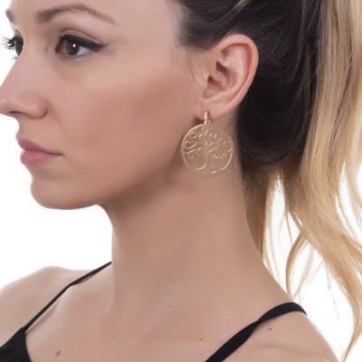 Golden earrings with maxi pendant and zircons