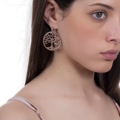 Rosé earrings with maxi pendant and zircons