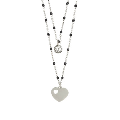 Double strand necklace with heart and zircon
