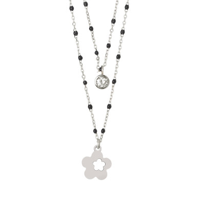 Double strand necklace with flower and zircon