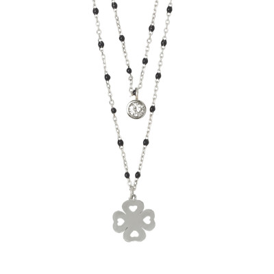 Double strand necklace with four-leaf clover and zircon