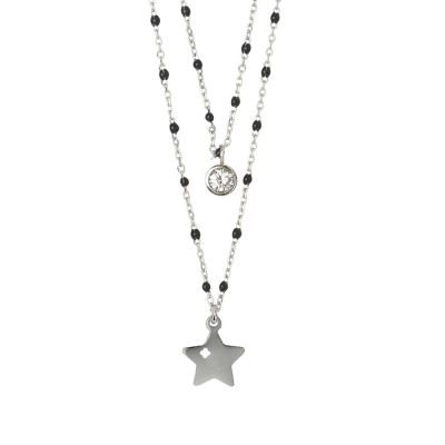 Double strand necklace with star and zircon