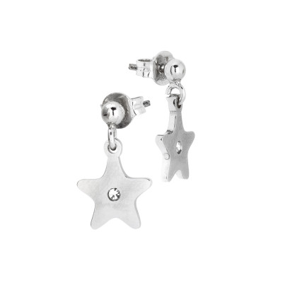 Rhodium-plated earrings with star and zircon
