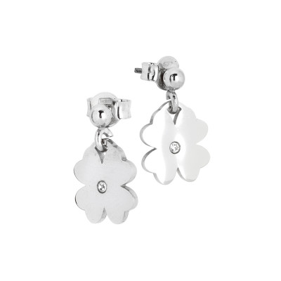 Rhodium-plated earrings with four-leaf clover and zircon