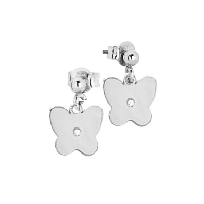 Rhodium-plated earrings with butterfly and zircon