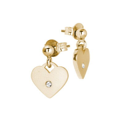 Rosé earrings with heart and zircon