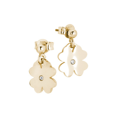 Rosé earrings with four-leaf clover and zircon