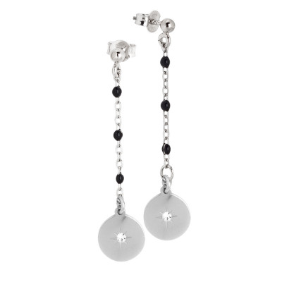Drop earrings with black enamel and zircon