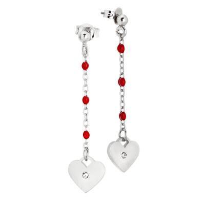 Drop earrings with red enamel and zircon