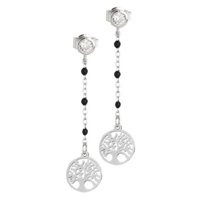 Earrings with zircon and tree of life