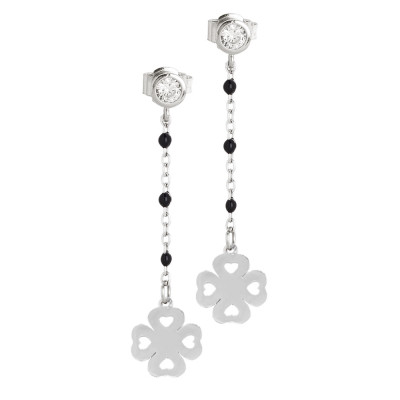 Earrings with zircon and four-leaf clover