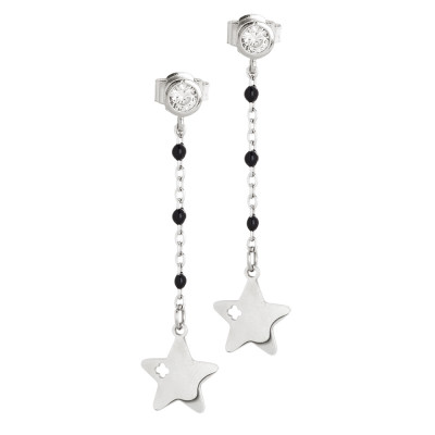 Earrings with zircon and star