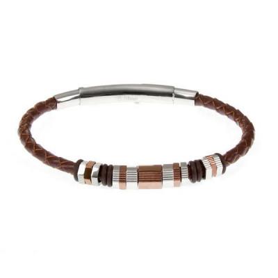 Bracelet in plaited leather and steel inserts