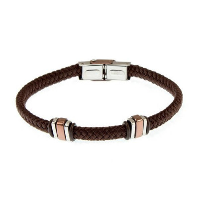 Braided Bracelet in brown fabric and steel