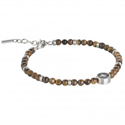 Bracelet with boules tiger-eye and Rosa dei Venti