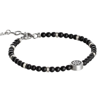 Bracelet with boules of obsidian black and tiller