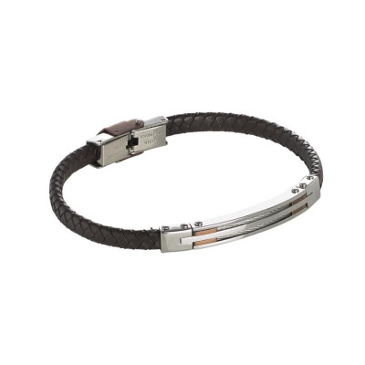 Bracelet in brown leather braided with steel inserts and decorations rosati