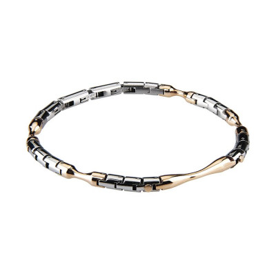 The semirigid Bracelet steel white and rosé
