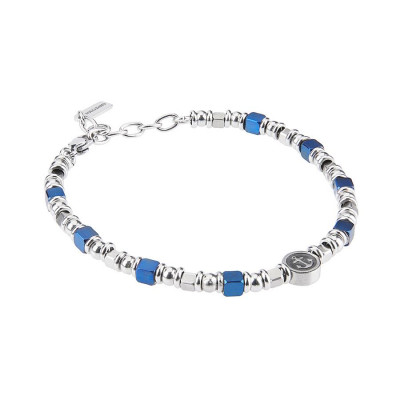 Bracelet with cubes in PVD blue and rodiati and circular central with still