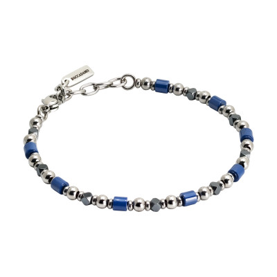 Bracelet with hematite and blue ceramic
