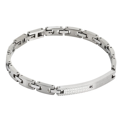 Flat link bracelet with worked plate and black zircon