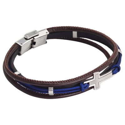 Brown leatherette bracelet and blue marine cord