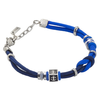 Bracelet with bicolor marine cord and anchor