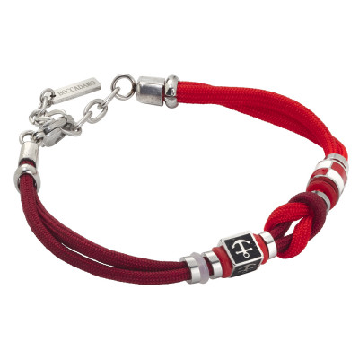 Bracelet with two-tone red marine cord and anchor