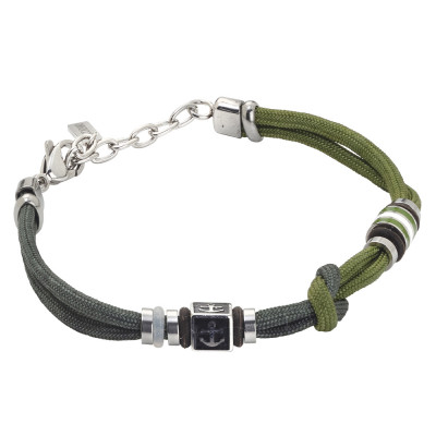 Bracelet with two-tone green marine cord and anchor