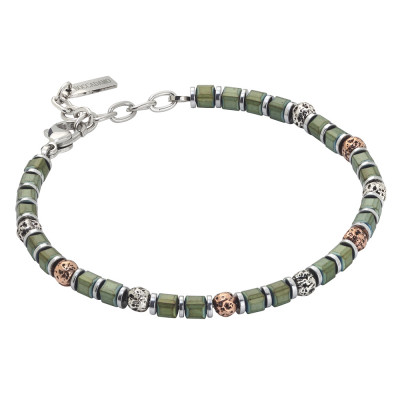 Beads bracelet with green galvanized hematite and lava stone