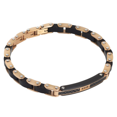 Yellow gold plated bracelet with wooden links and central zircons
