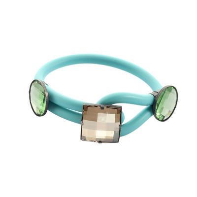 Bracciale in gomma verde acqua con cristalli smeraldo e champagne