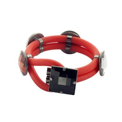 Bracciale doppio filo in gomma rossa con cristalli colorati