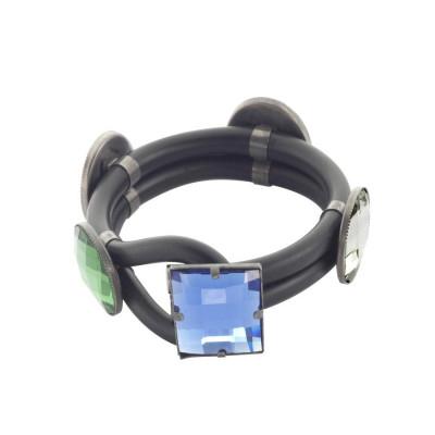 Bracciale doppio filoin gomma nera con cristalli colorati