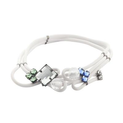 Collana multifilo in gomma bianca e cristalli