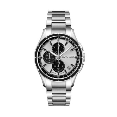 Chronograph in steel with quadrant silver and black counters