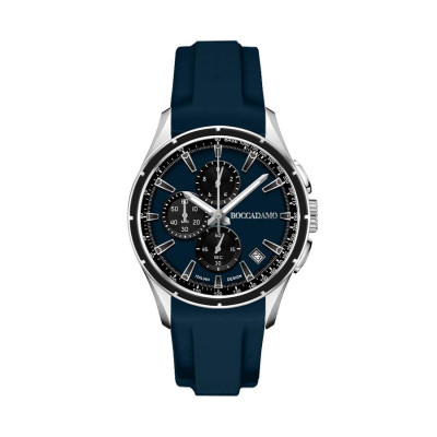 Chronograph in silicone navy with blue dial, counters black and tongue in steel