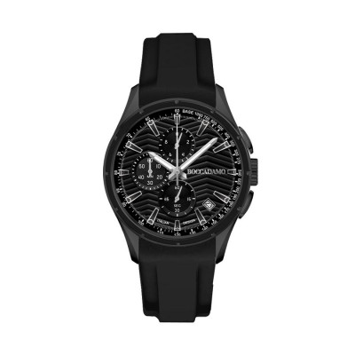 Chronograph in silicone black with a quadrant and counters black and tongue in steel