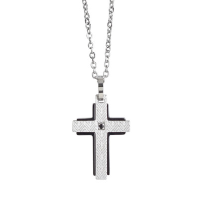 Rol necklace with crucifix and black zircon