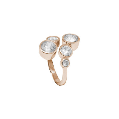 Open Ring Gold plated pink with zircons diamond cut