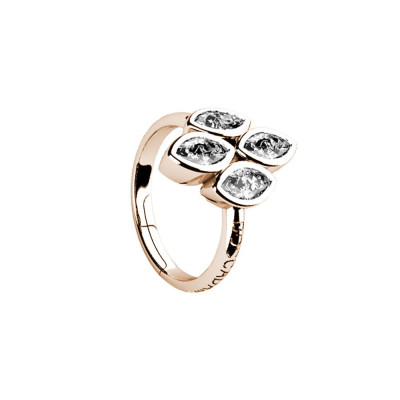 Plated ring pink gold with zircons to shuttles brilliant cut