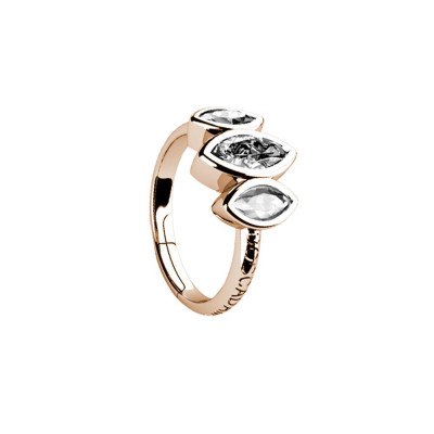 Plated ring pink gold with decoration of zircons to shuttles brilliant cut