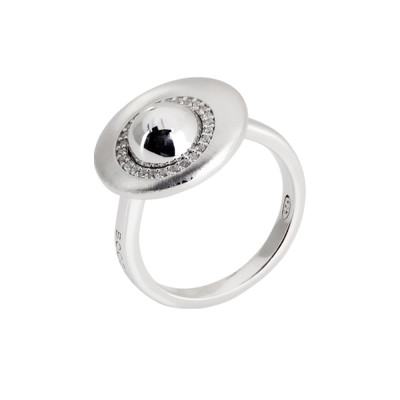 Moon eclipse ring with zircons and sphere