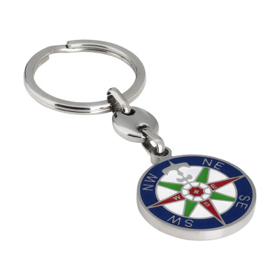 Keychain with enamelled compass