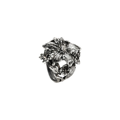 Lilium ring in burnished silver