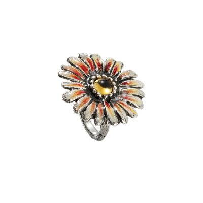 Hand painted daisy ring in burnished silver