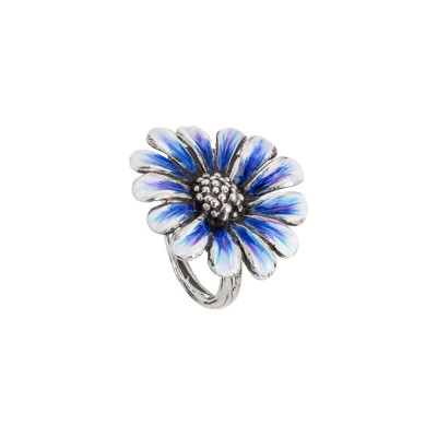 Daisy ring in burnished silver and painted in shades of blue