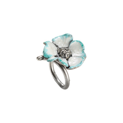 Ring in burnished silver with hand-painted cherry blossom