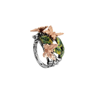 Ring in burnished silver with painted olive leaves and pink butterflies