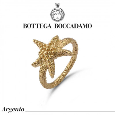 Yellow gold plated ring with starfish